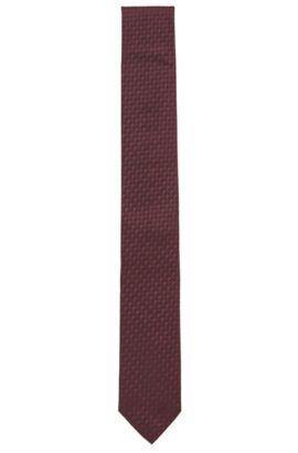 Krawatte aus Seiden-Jacquard mit feinem 3D-Muster, Dunkelrot
