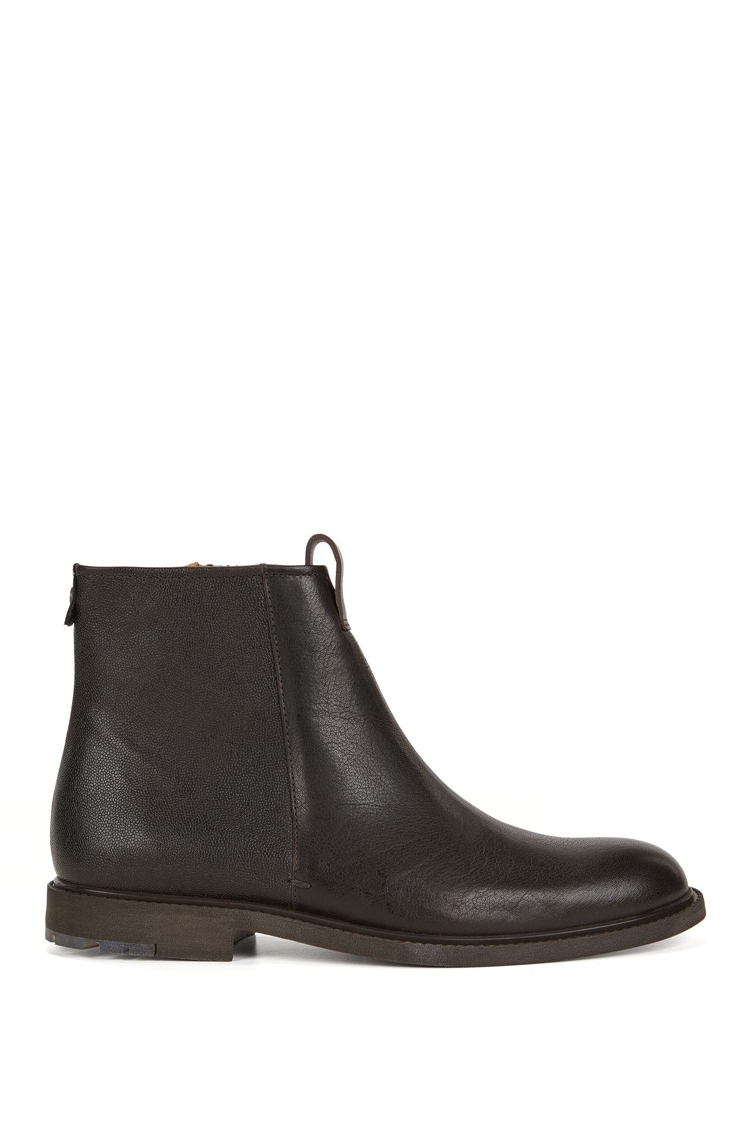Zip-up boots in mixed leathers