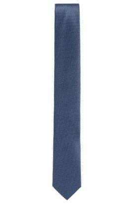 Micro-patterned tie in silk jacquard, Dark Blue
