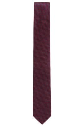 Micro-patterned tie in silk jacquard, Red