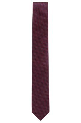 Cravatta in seta jacquard con micro disegni, Rosso