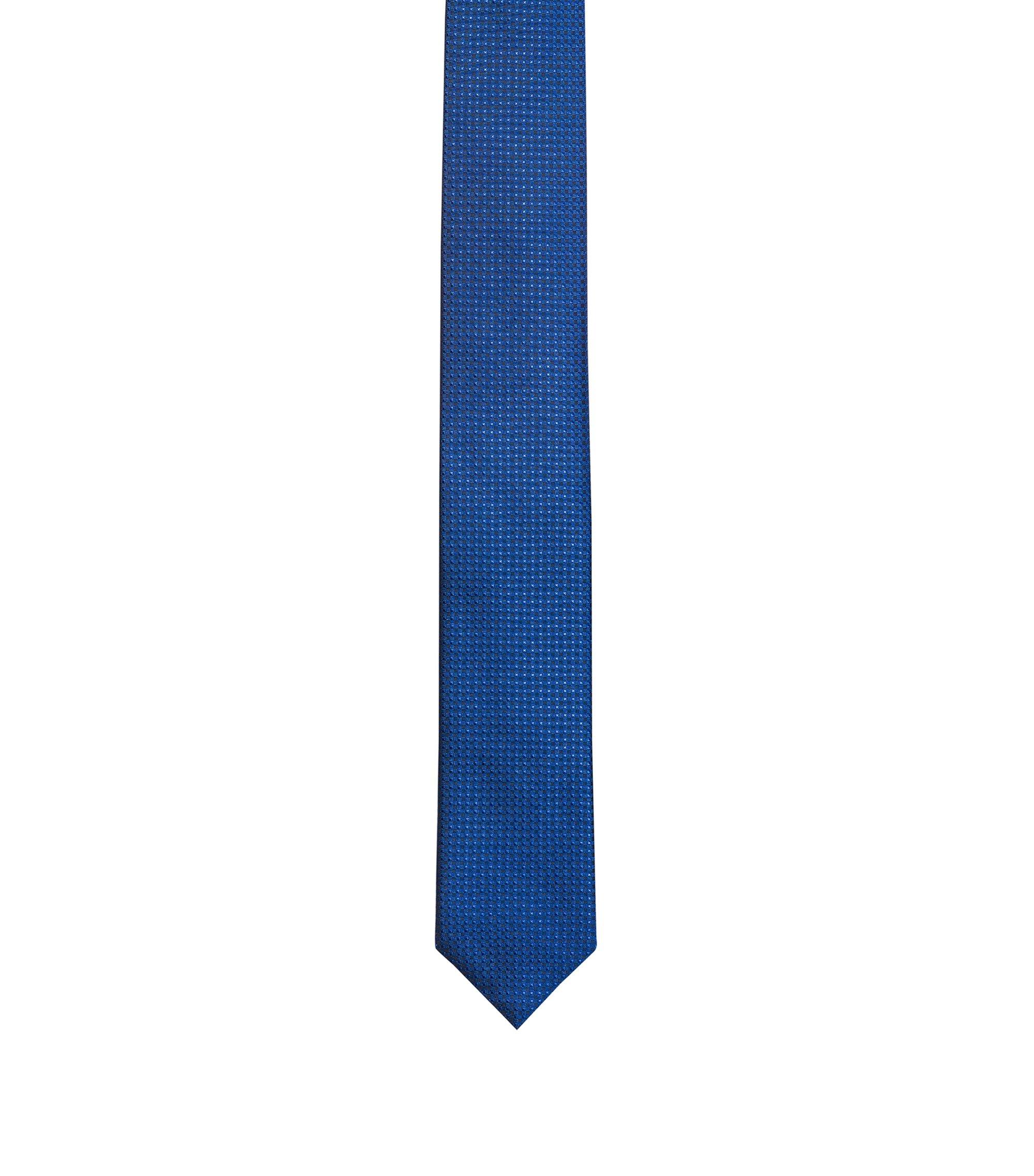 Stropdas van zijdejacquard met microdessin, Donkerblauw