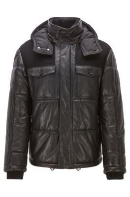 Regular-fit jas van nappaleer met vulling, Zwart