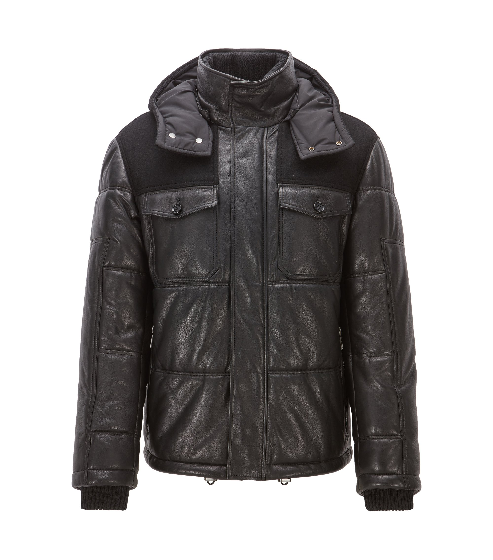 Regular-fit padded nappa leather jacket, Black