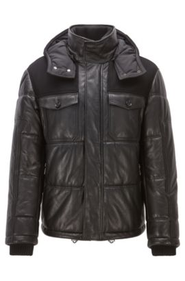 Regular-Fit Steppjacke aus Nappaleder, Schwarz