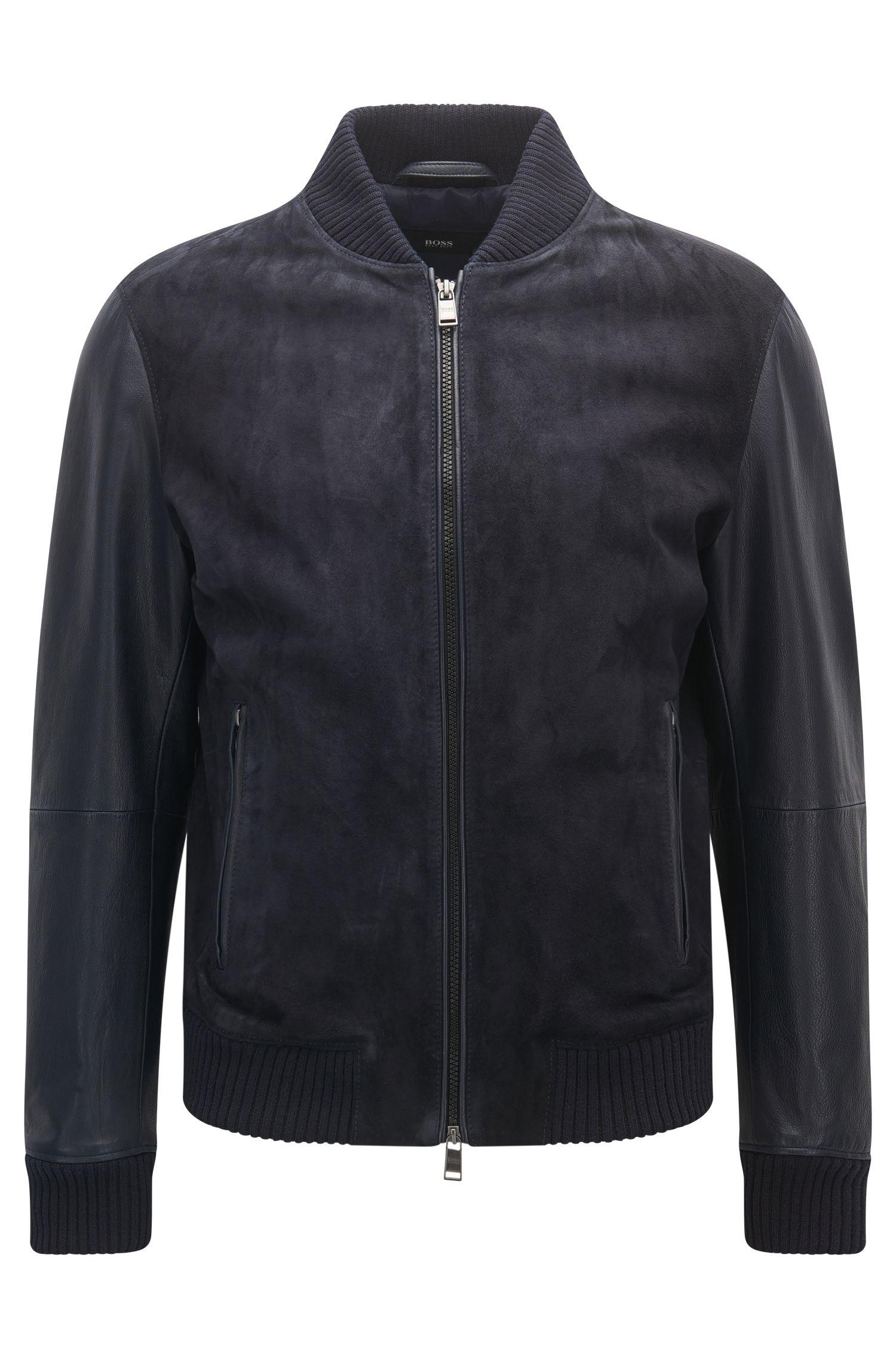 Regular-fit leather bomber jacket