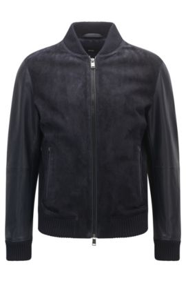 Regular-fit leather bomber jacket , Dark Blue