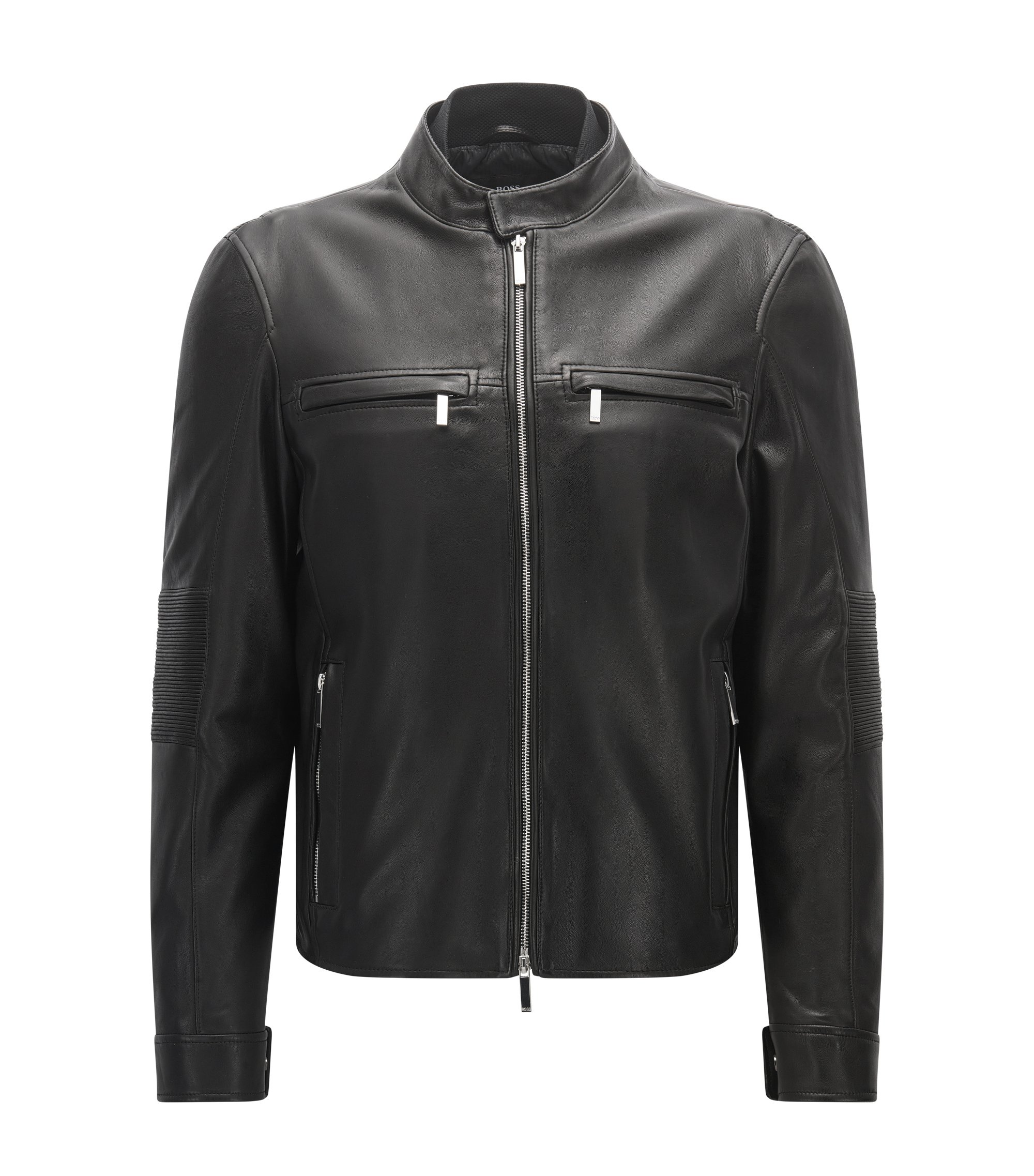 Blouson de motard Slim Fit de la collection Mercedes-Benz, en cuir nappa, Noir