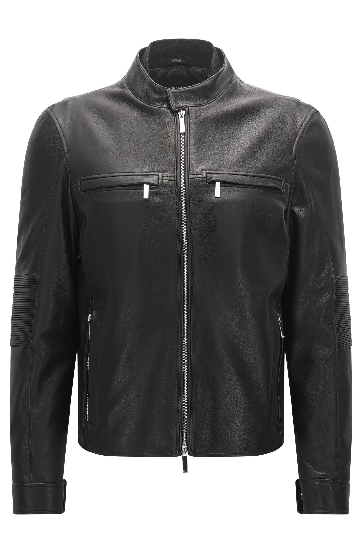 Blouson de motard Slim Fit de la collection Mercedes-Benz, en cuir nappa