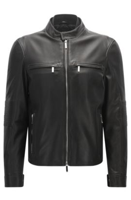 Mercedes-Benz Collection slim-fit biker jacket in nappa leather, Noir