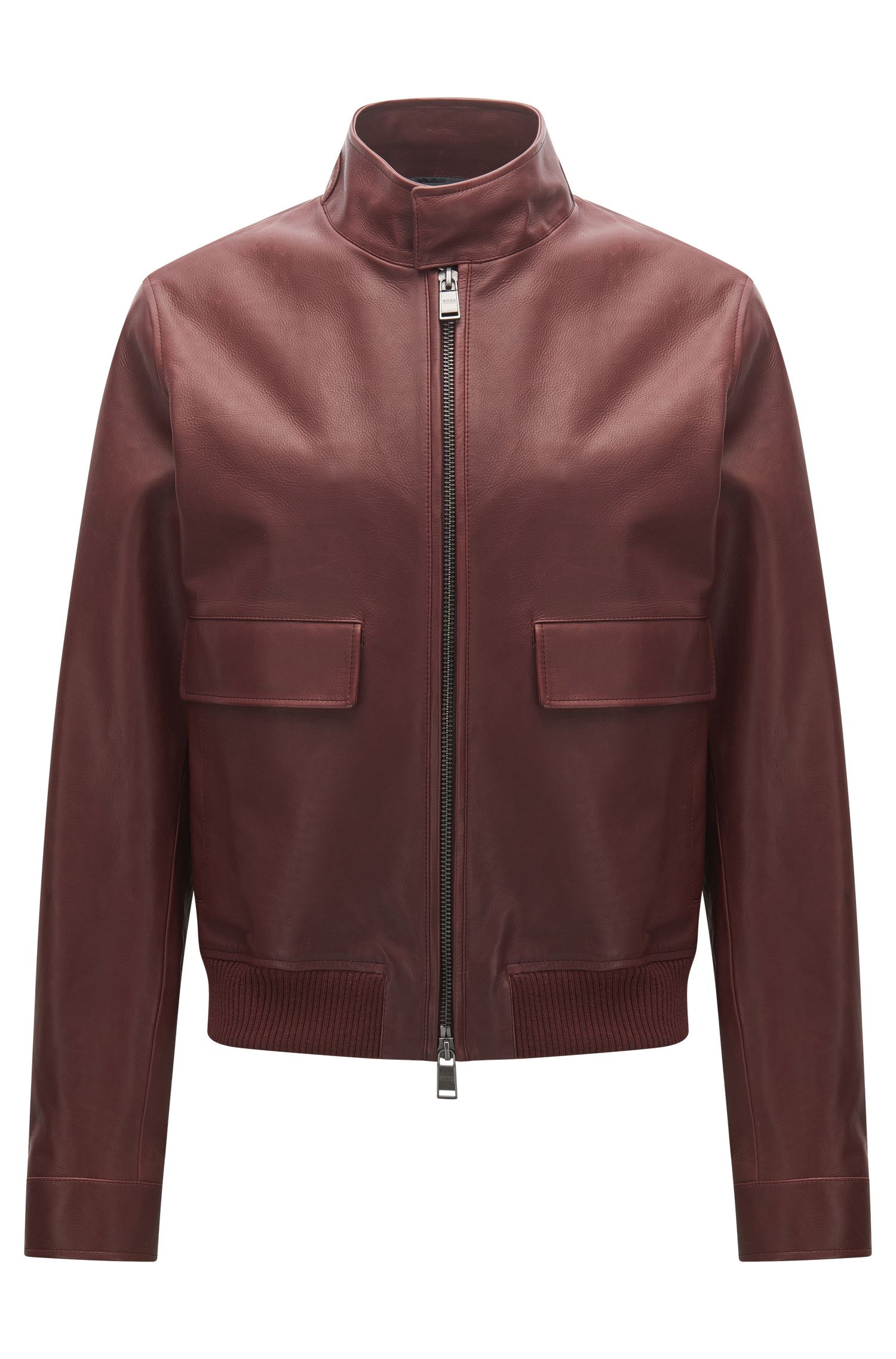 Regular-fit jacket in rich leather