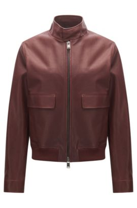 Regular-fit jacket in rich leather, Dark Red