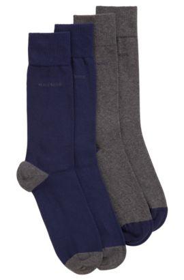 Socken aus elastischem Baumwoll-Mix im Zweier-Pack, Blau