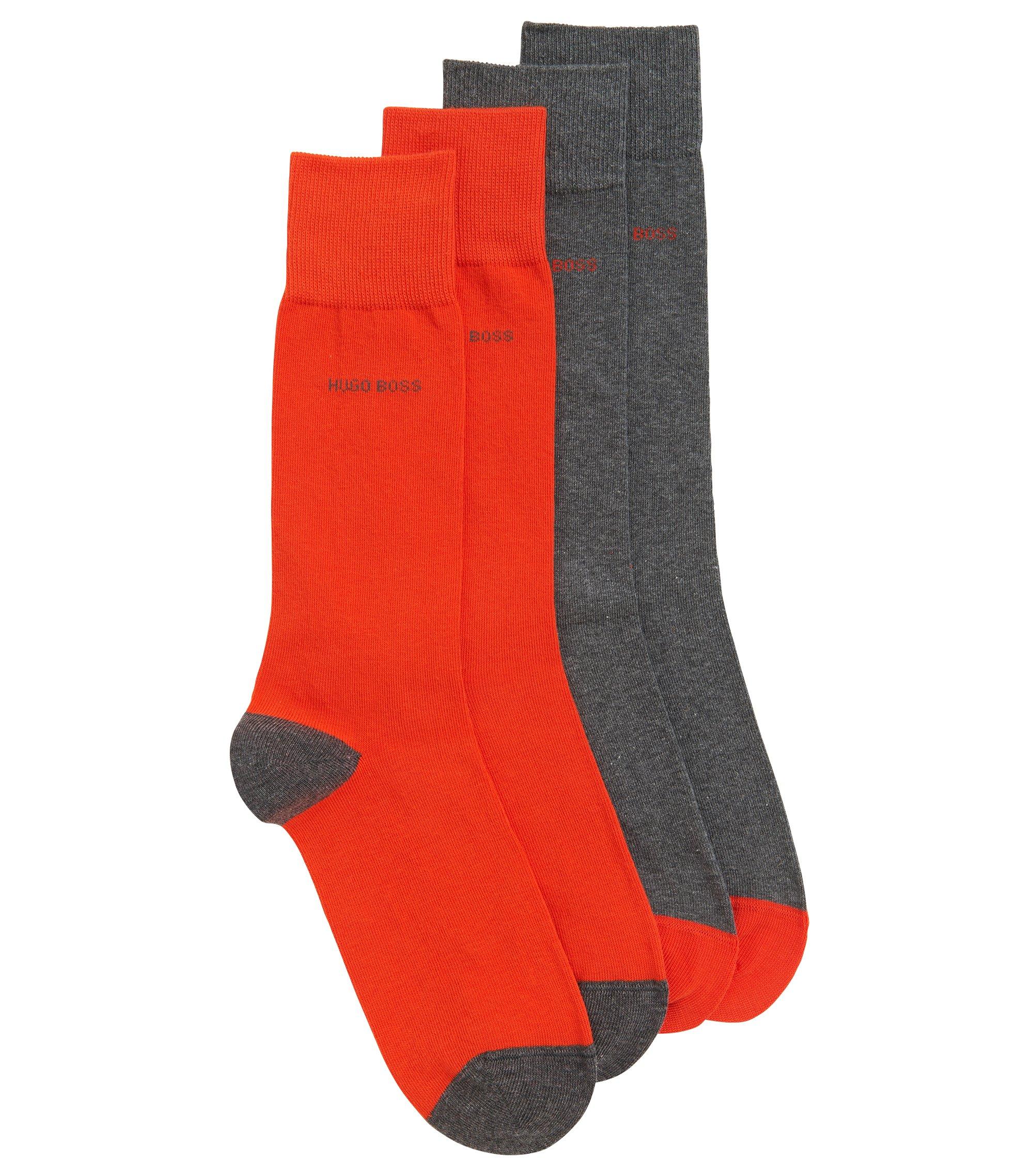 Socken aus elastischem Baumwoll-Mix im Zweier-Pack, Grau