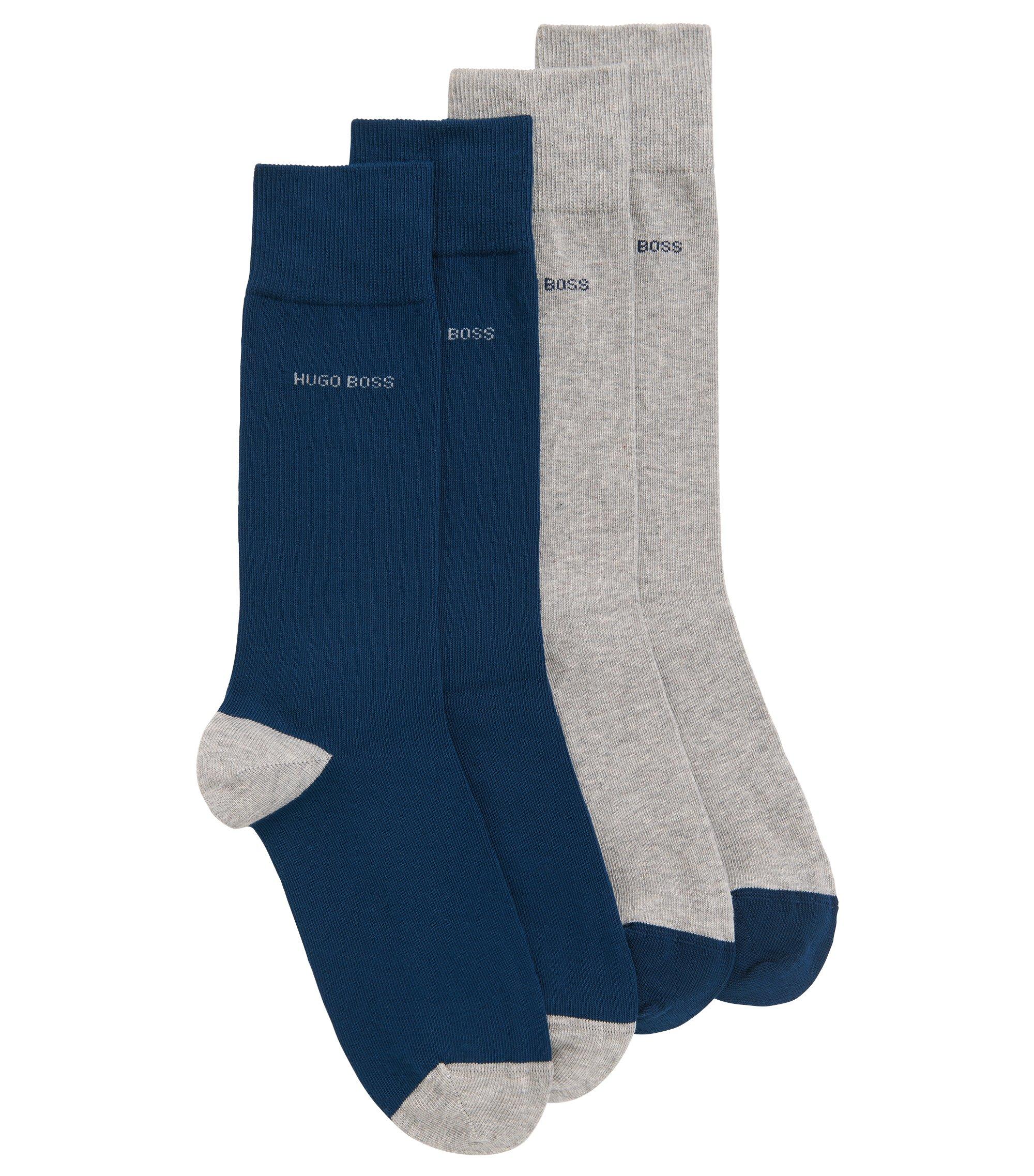Set van twee paar sokken van een katoenmix, Zilver