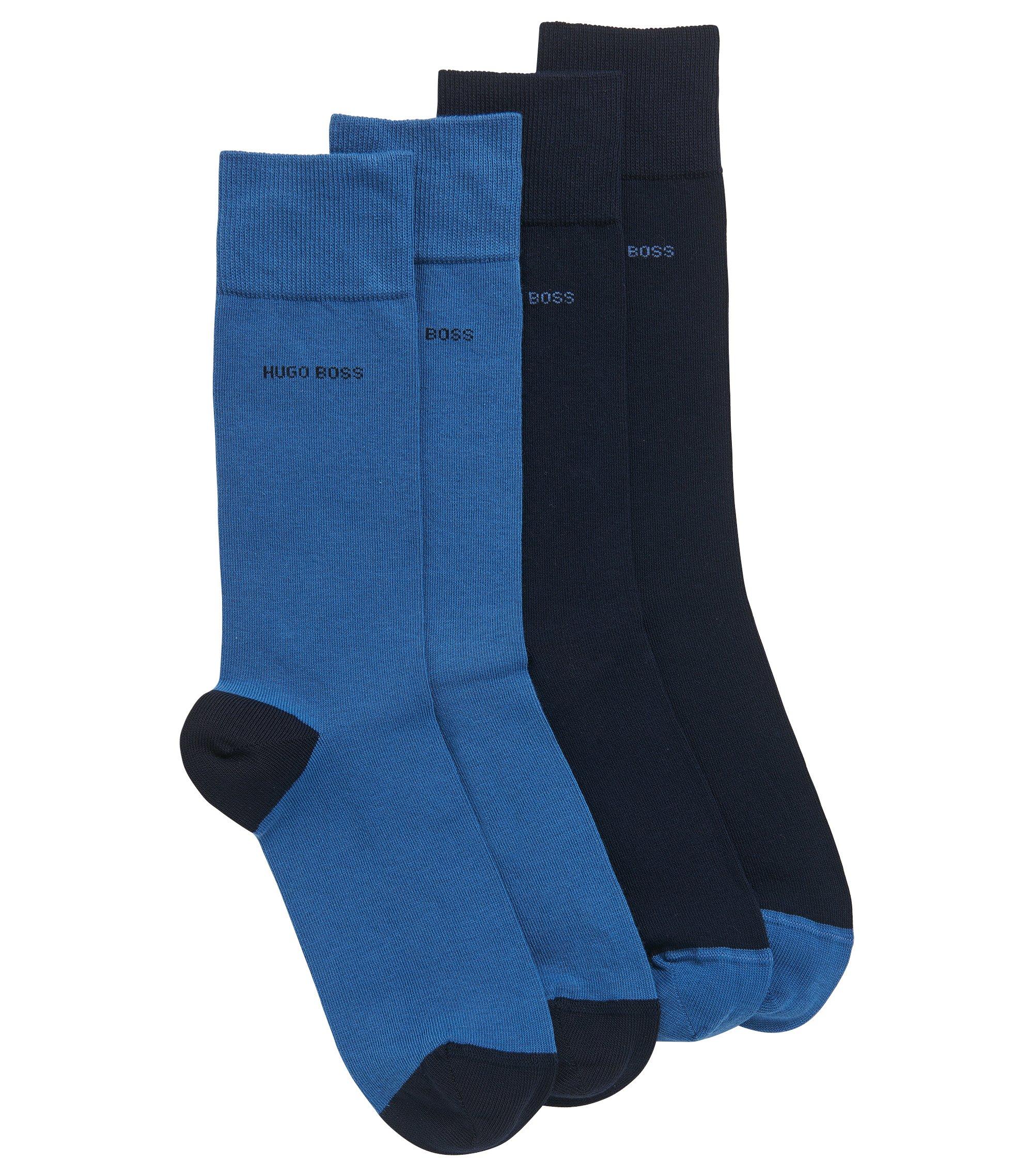 Set van twee paar sokken van een katoenmix, Donkerblauw