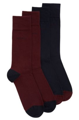 Two-pack of cotton-blend socks, Dark Red