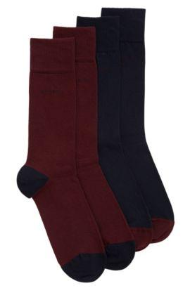 Socken aus elastischem Baumwoll-Mix im Zweier-Pack, Dunkelrot