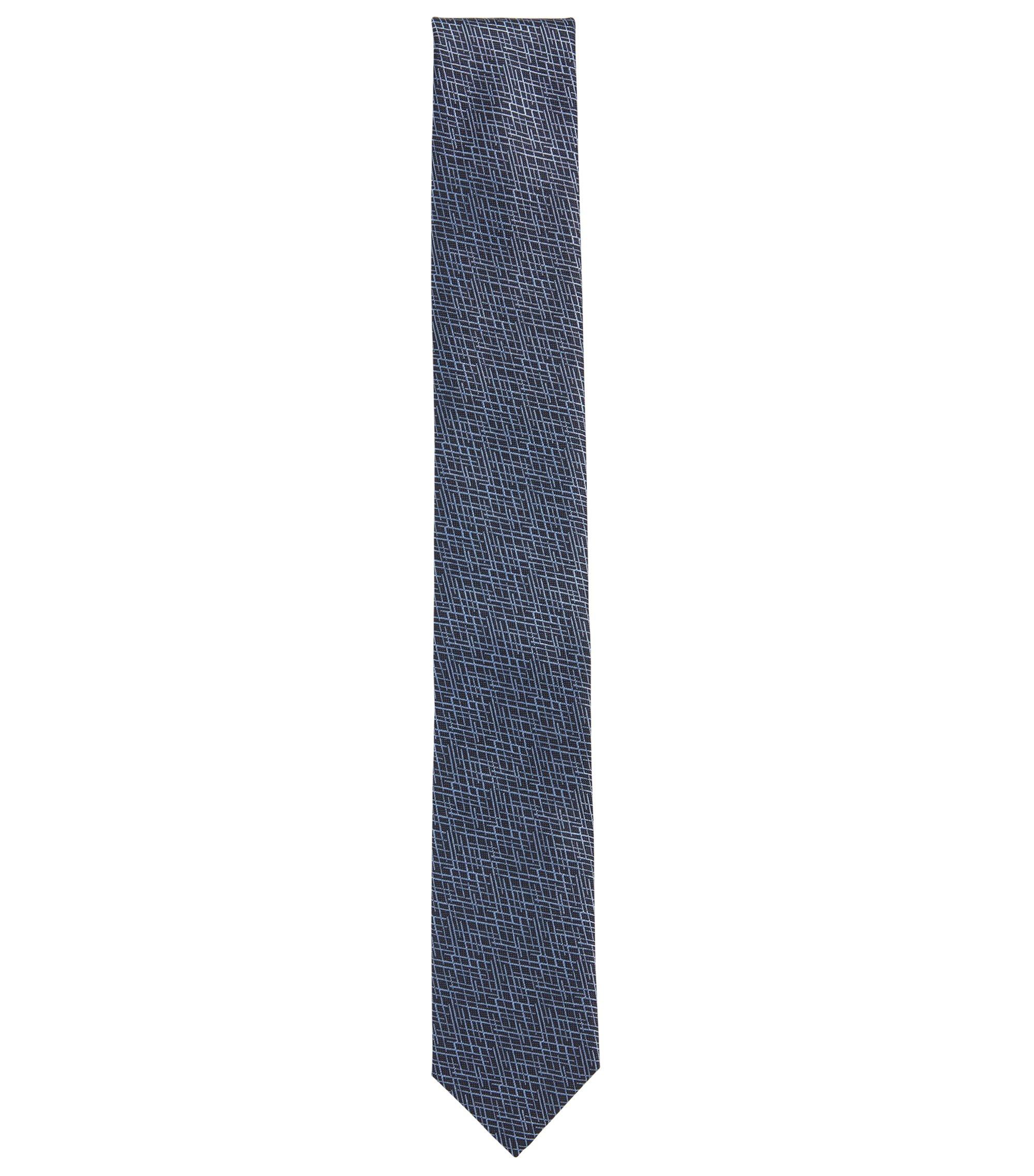 Krawatte aus Seiden-Jacquard mit abstraktem Muster, Dunkelblau