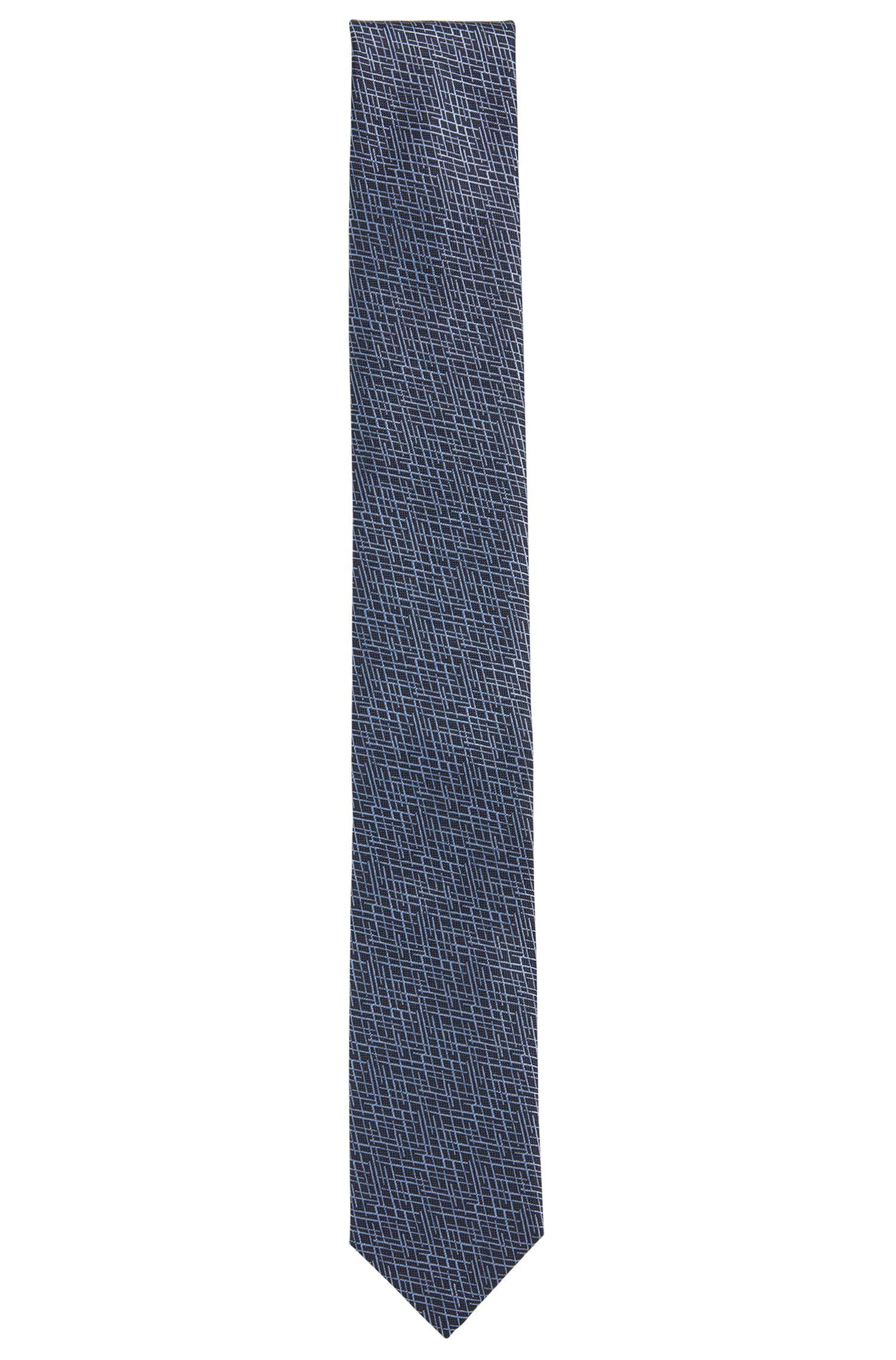 Cravatta jacquard in seta con microdisegni astratti