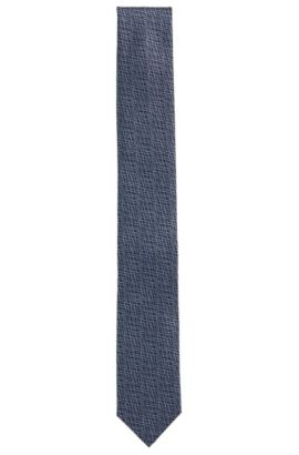 Abstract micro-pattern tie in silk jacquard, Dark Blue
