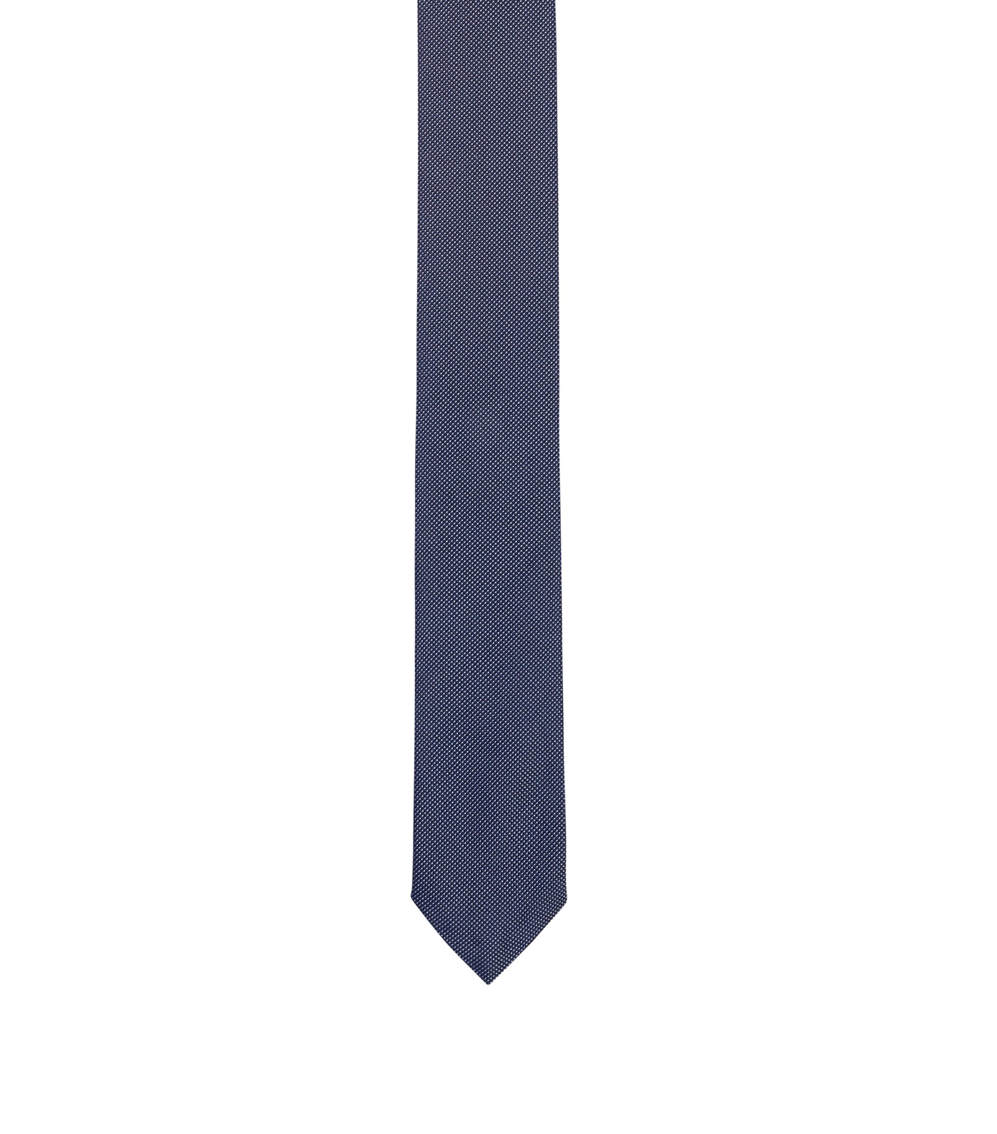 Micro-pattern tie in pure silk, Dark Blue