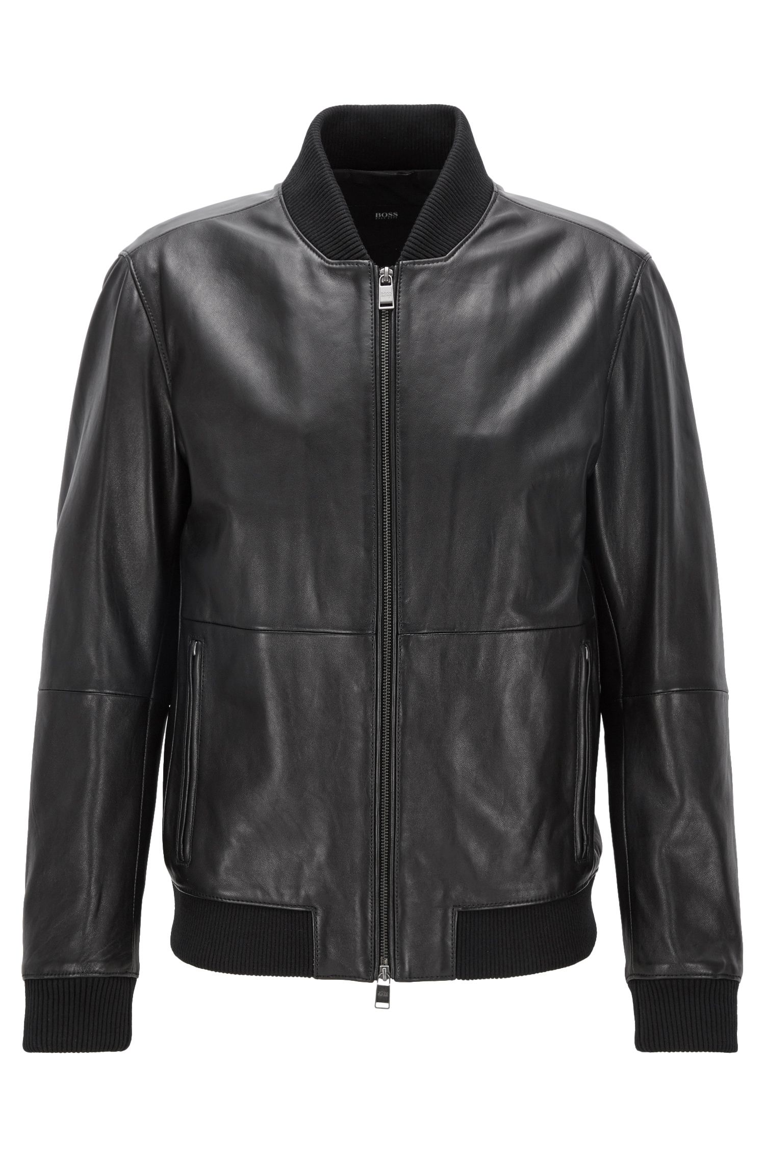 Veste zippée Regular Fit en cuir souple