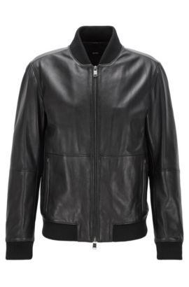 Regular-fit zipped jacket in soft leather, Black