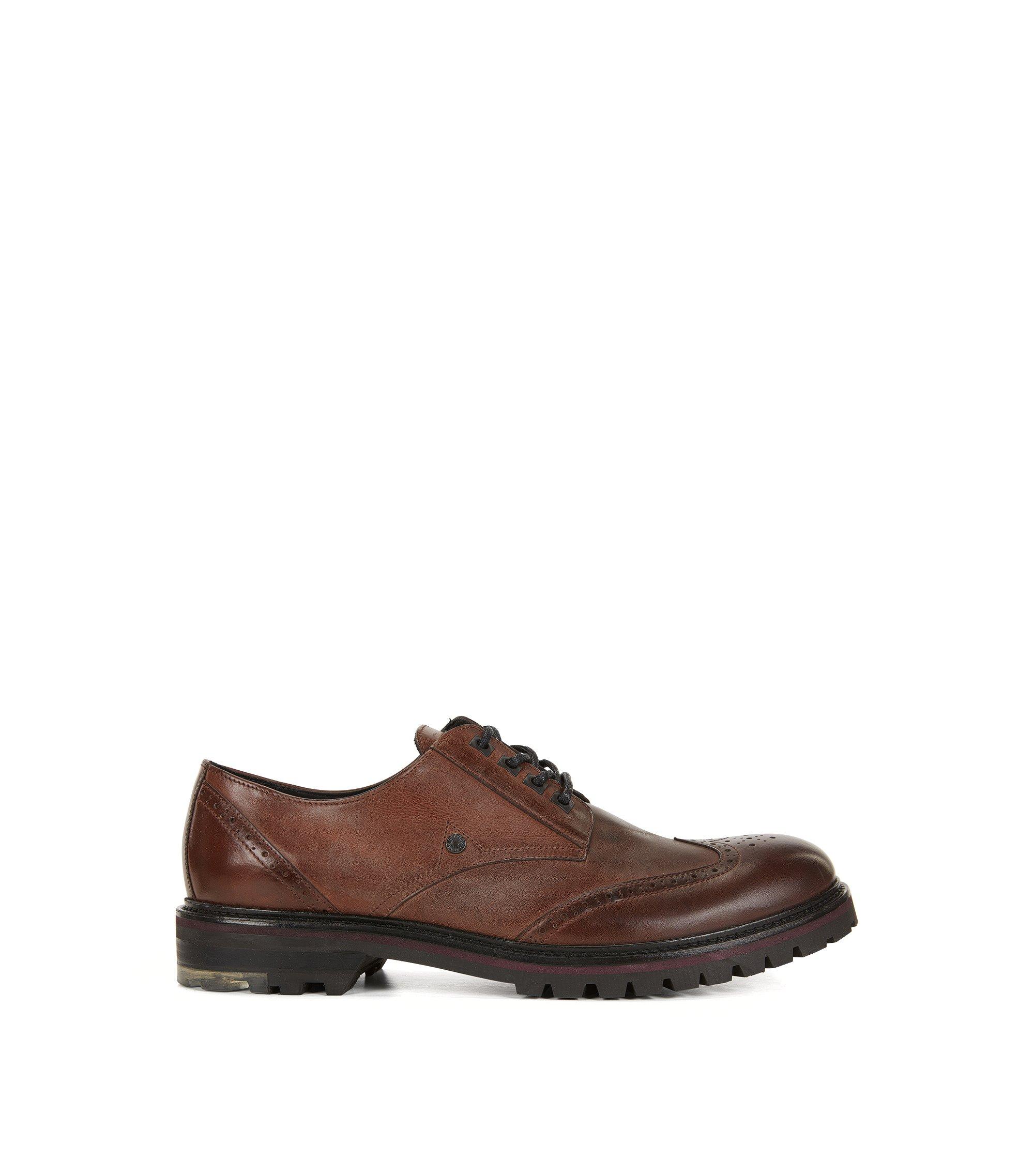 Chaussures derby lacées en cuir lavé, Marron
