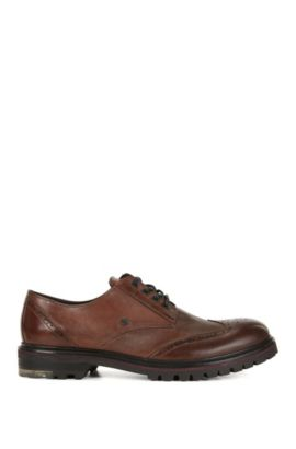 Lace-up Derby shoes in washed leather, Brown