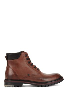 Lace-up boots in washed leather, Brown