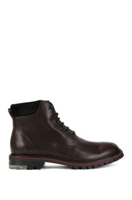 Lace-up boots in washed leather, Dark Brown