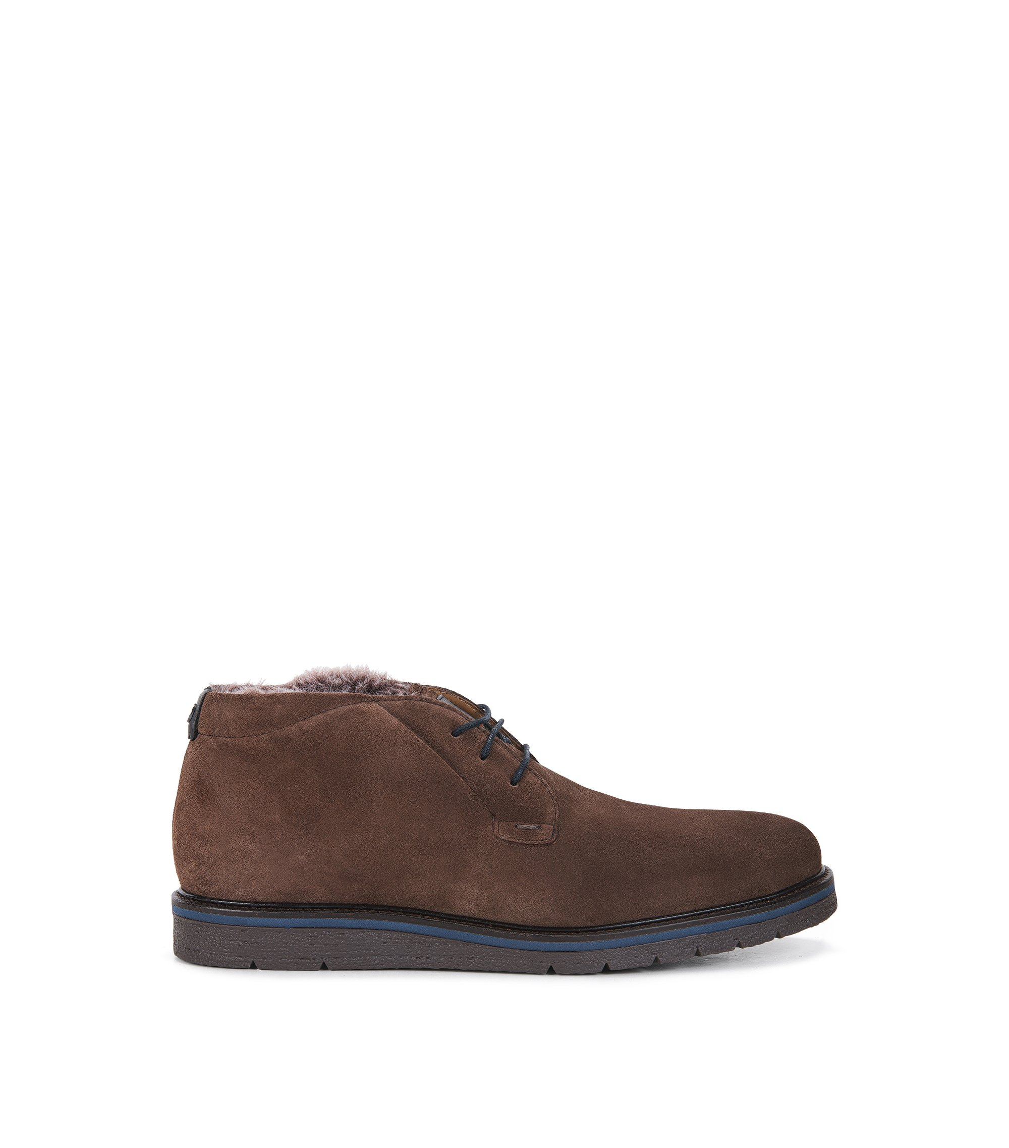 Washed-suede desert boots with faux-fur lining, Dark Brown