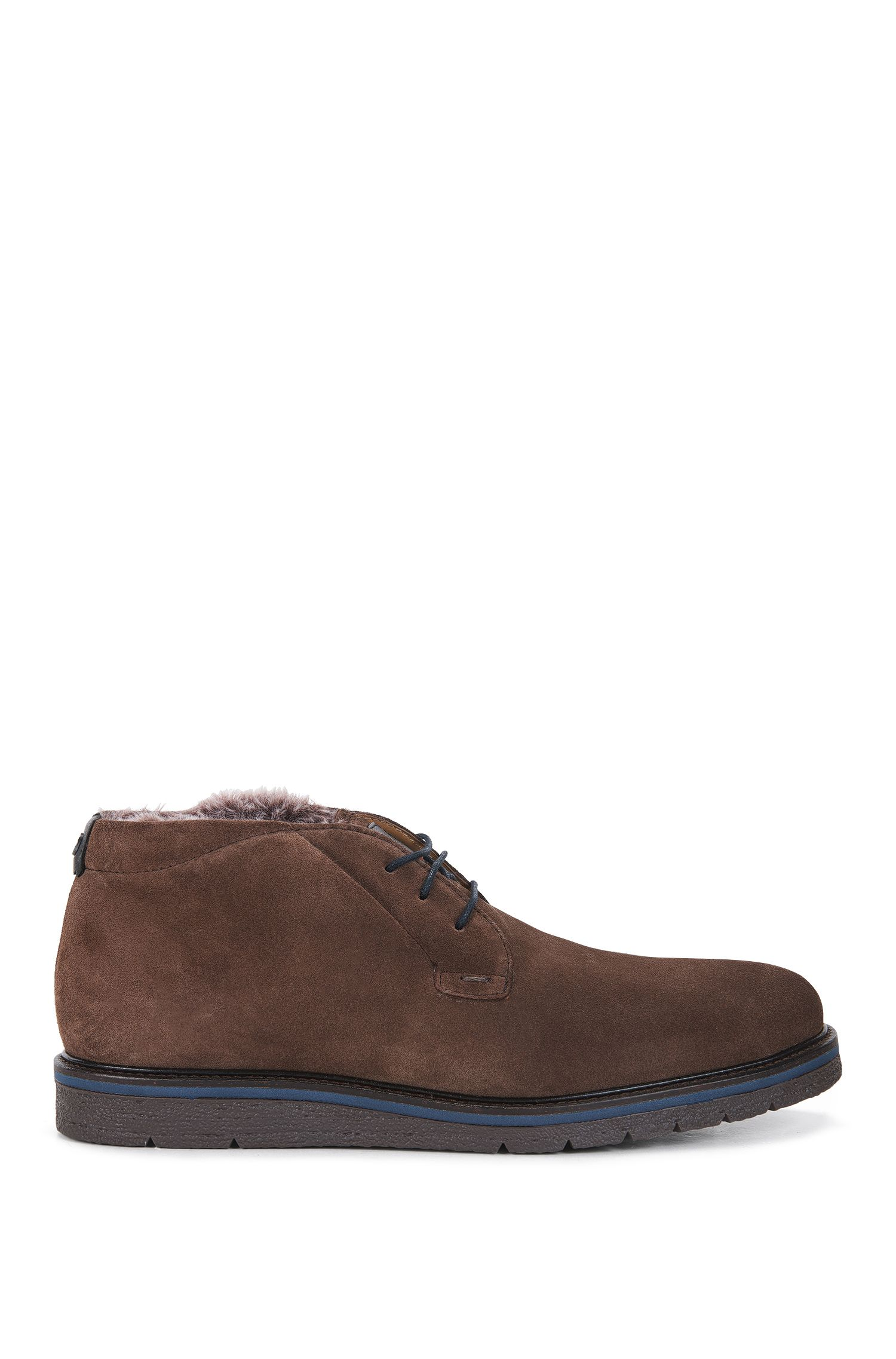 Washed-suede desert boots with faux-fur lining