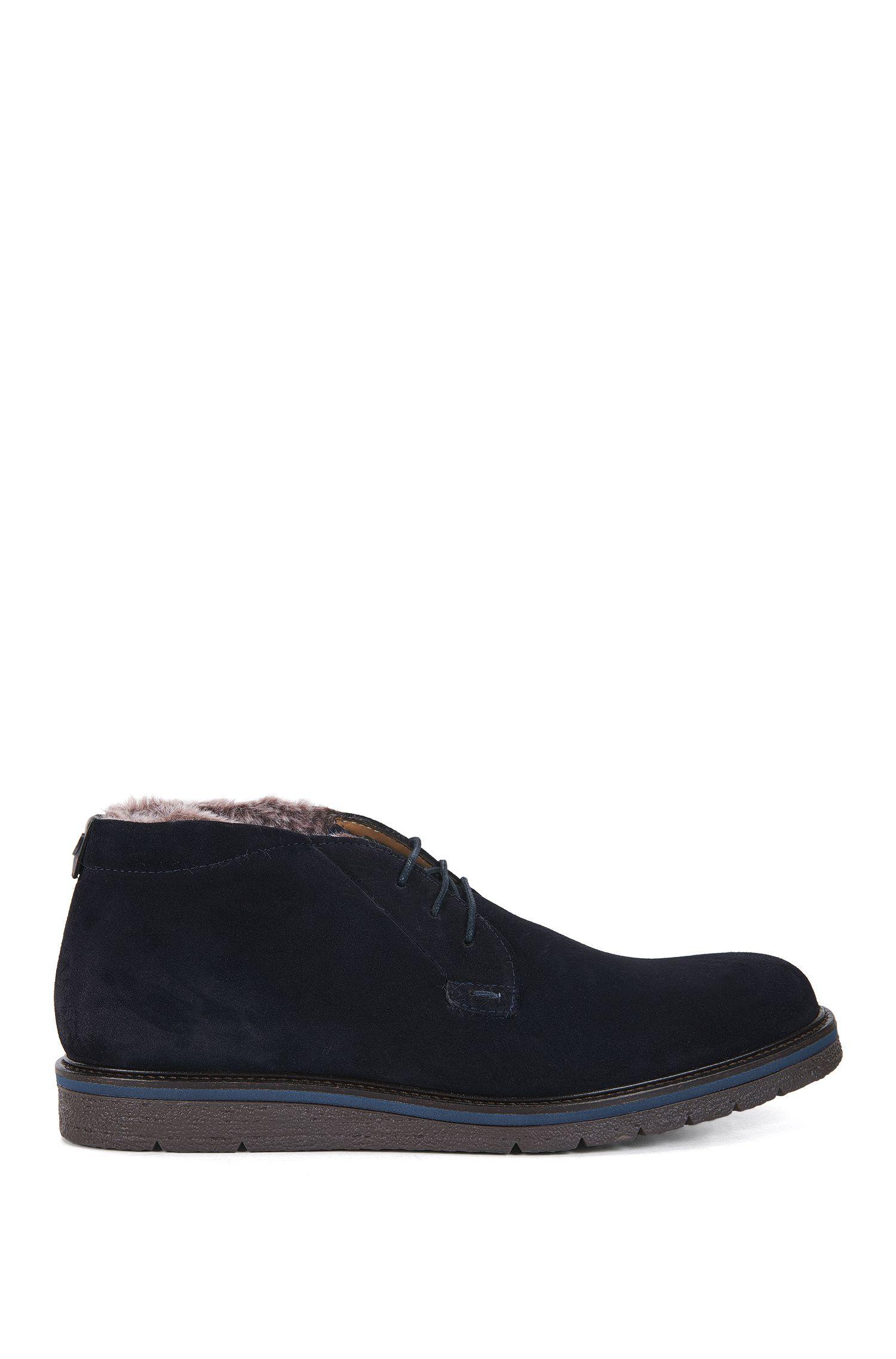 Desert boots en daim lavé avec doublure en fausse fourrure