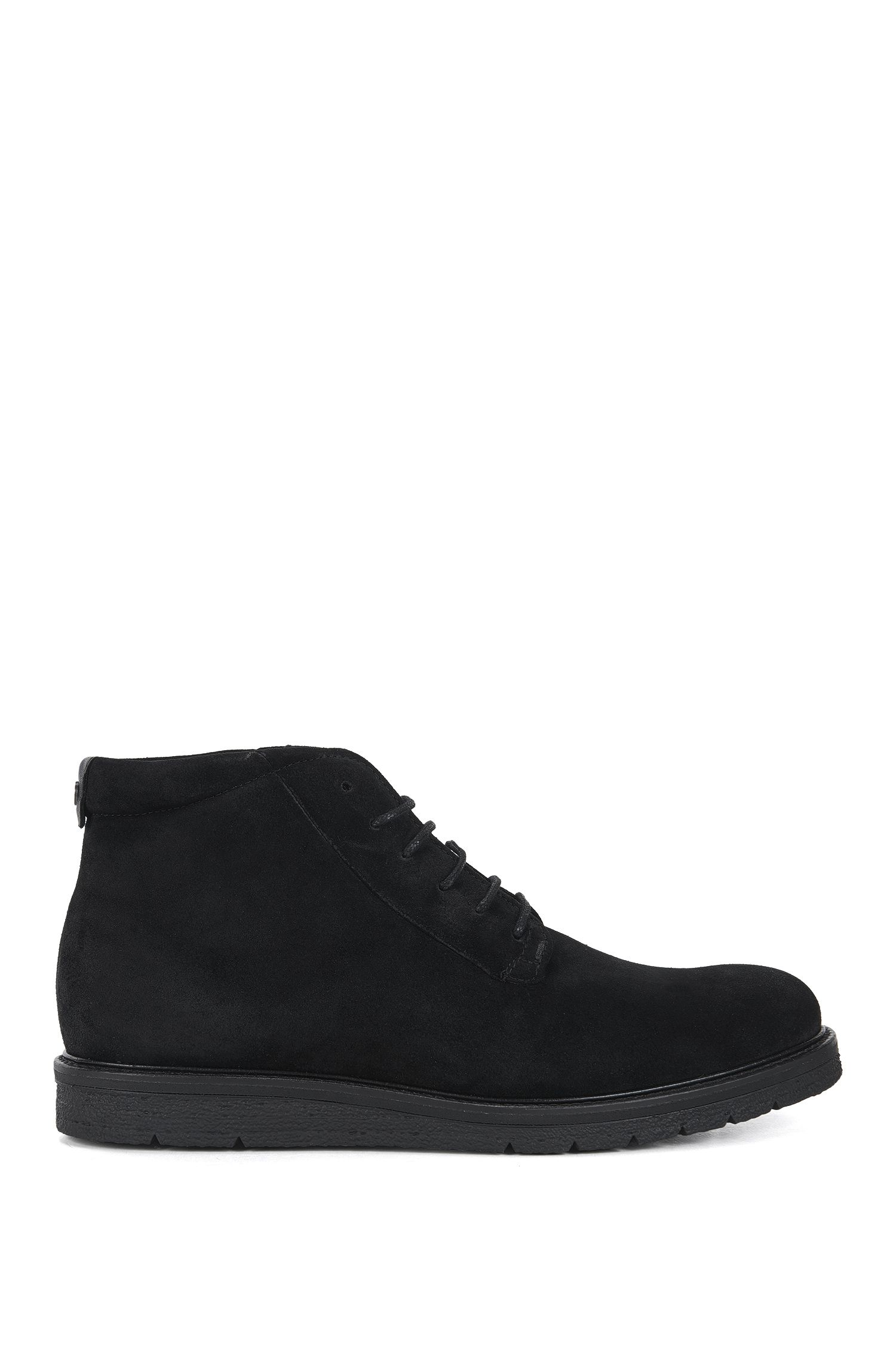 Lace-up half boots in washed suede