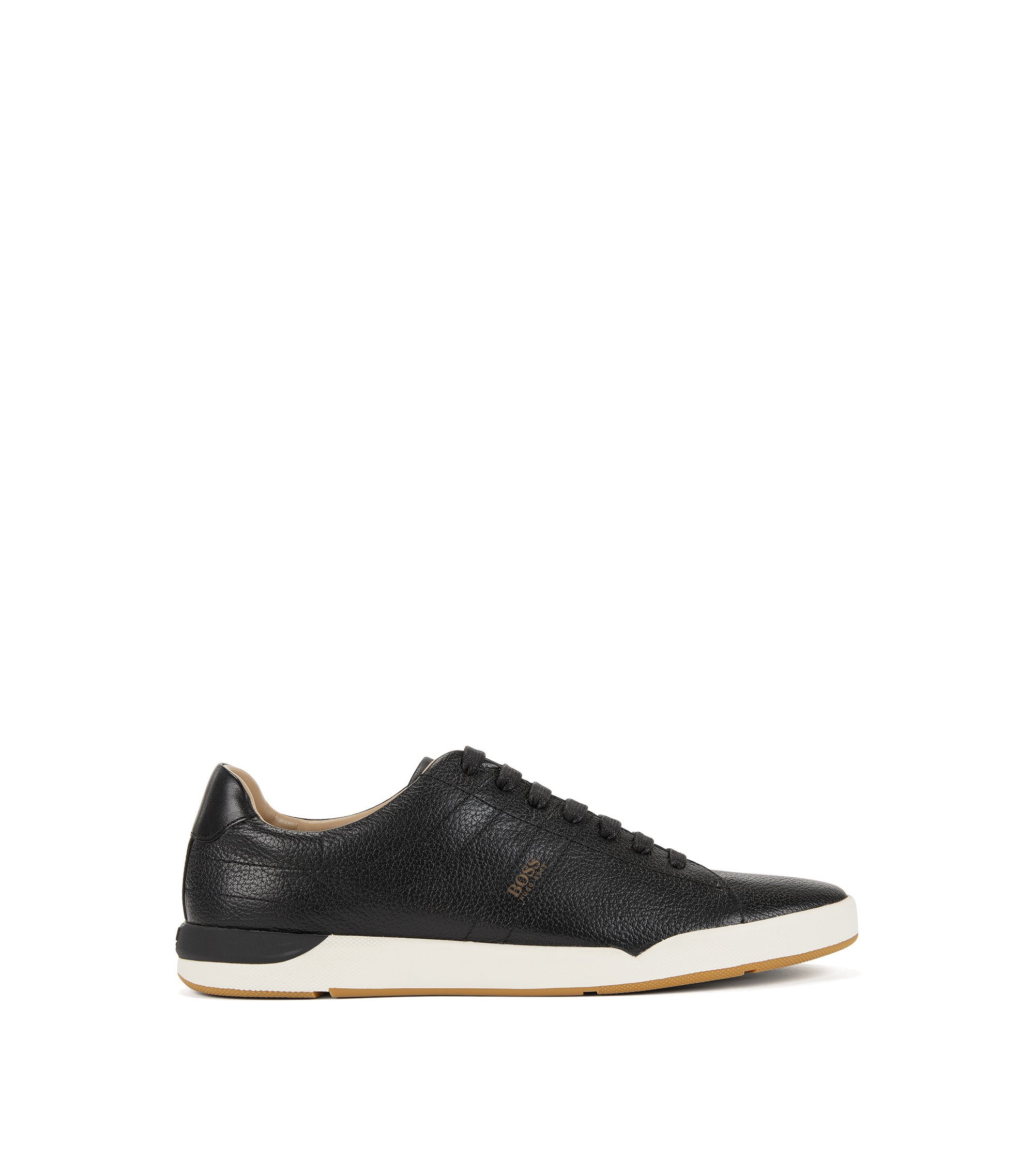Sneakers aus genarbtem Leder, Schwarz