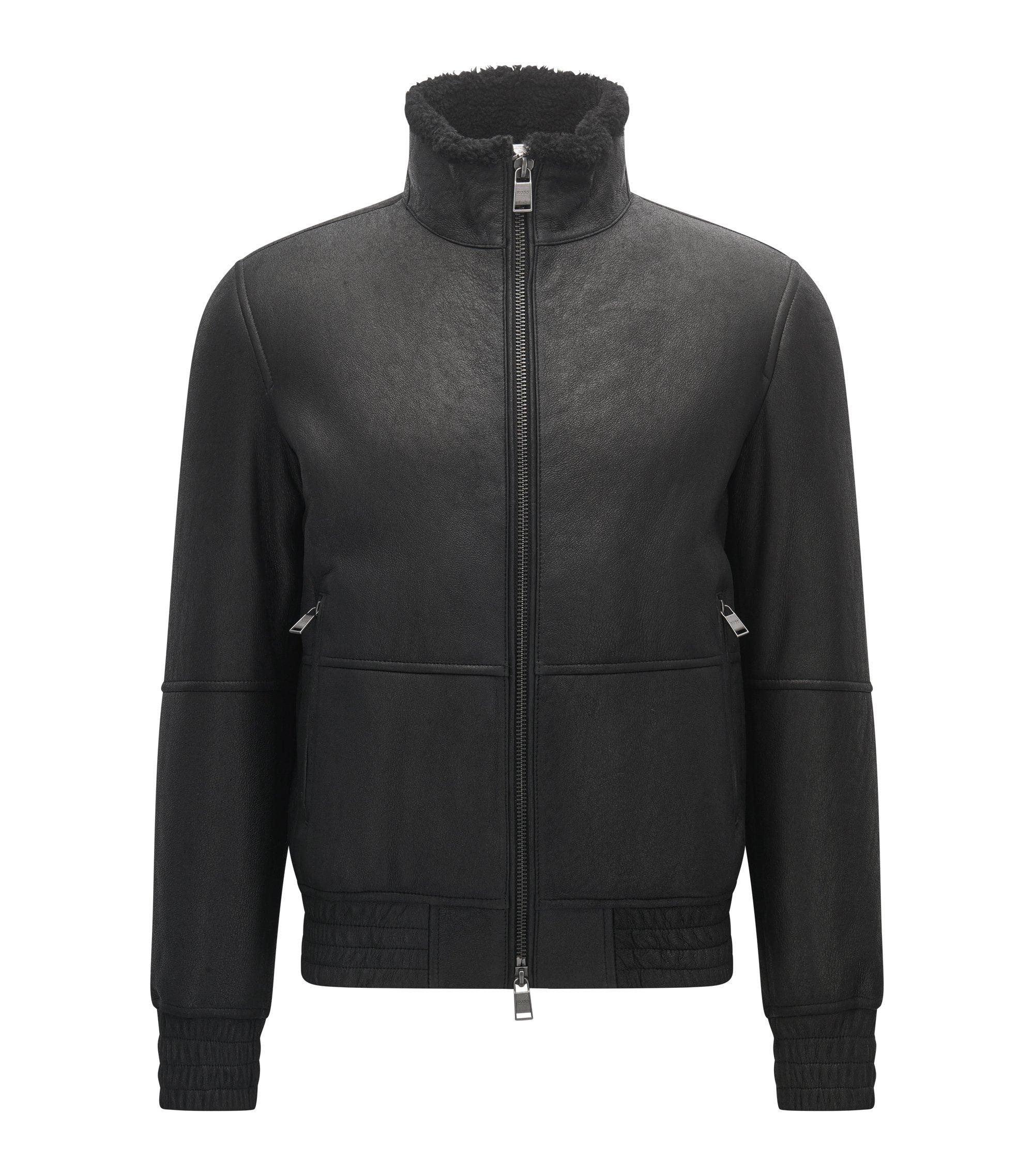 Regular-Fit Lederjacke mit elastischen Details, Schwarz