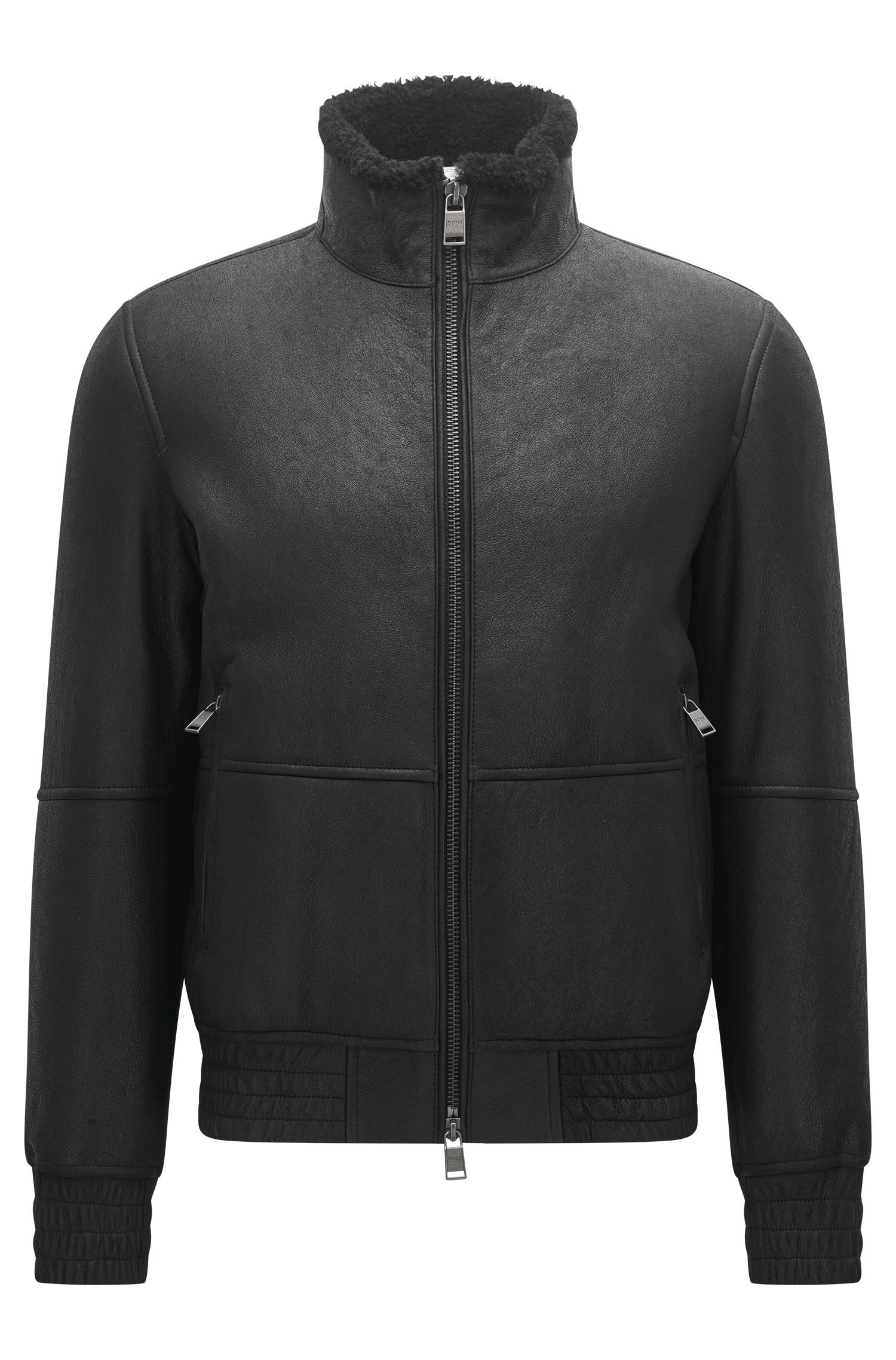 Regular-fit lambskin leather jacket with elasticated details