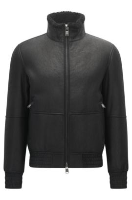 Regular-fit lambskin leather jacket with elasticated details, Black