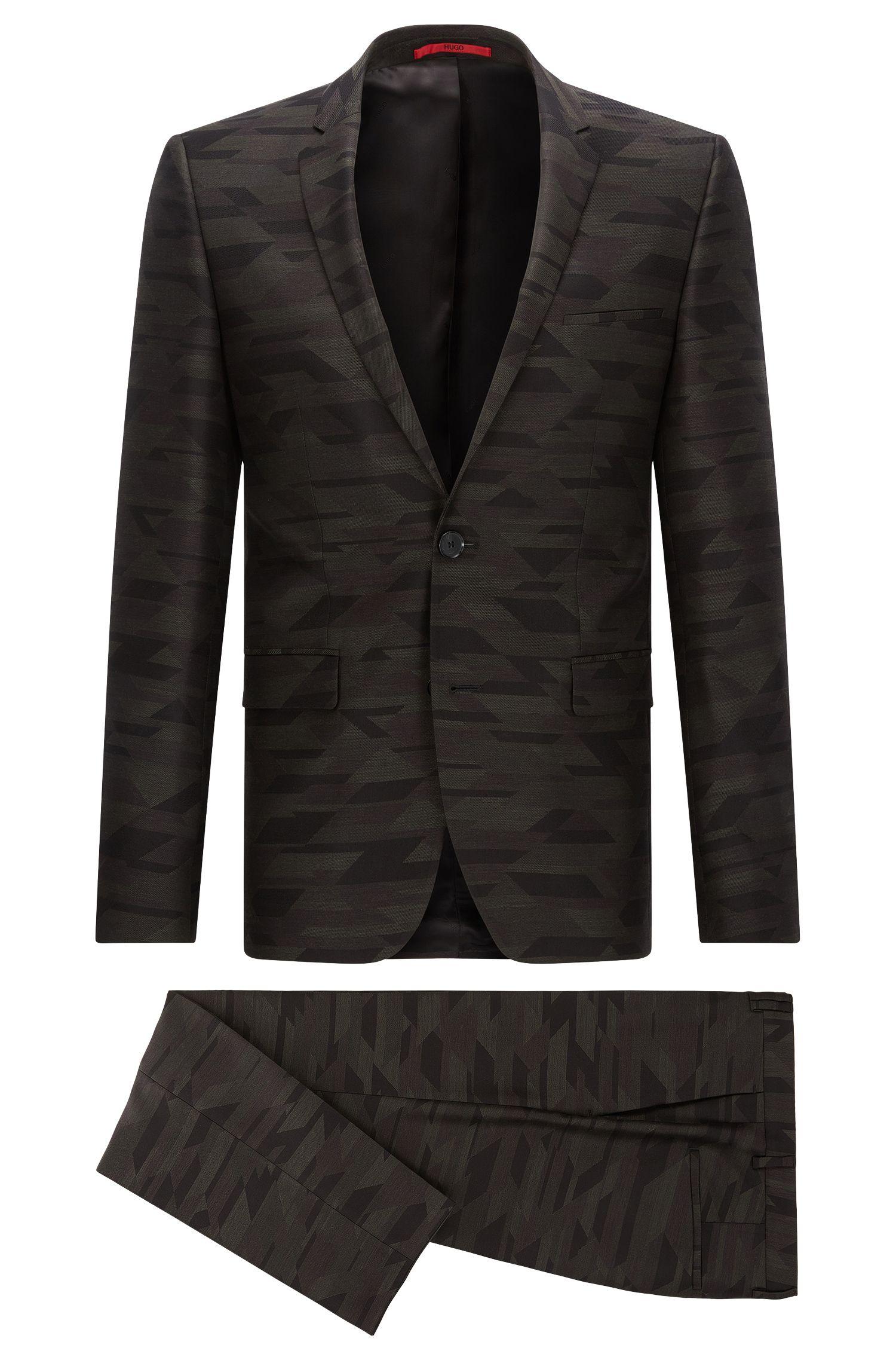 Gemusterter Extra Slim-Fit Anzug aus Schurwolle