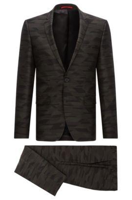Gemusterter Extra Slim-Fit Anzug aus Schurwolle, Gemustert