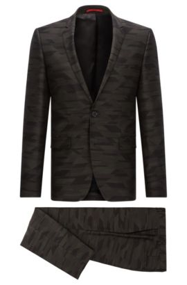 Extra-slim-fit suit in patterned virgin wool, Patterned