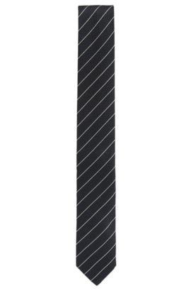 Diagonaal gestreepte stropdas van zijdejacquard, Donkerblauw