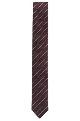 Cravate en jacquard de soie à rayures en diagonale, Rouge sombre