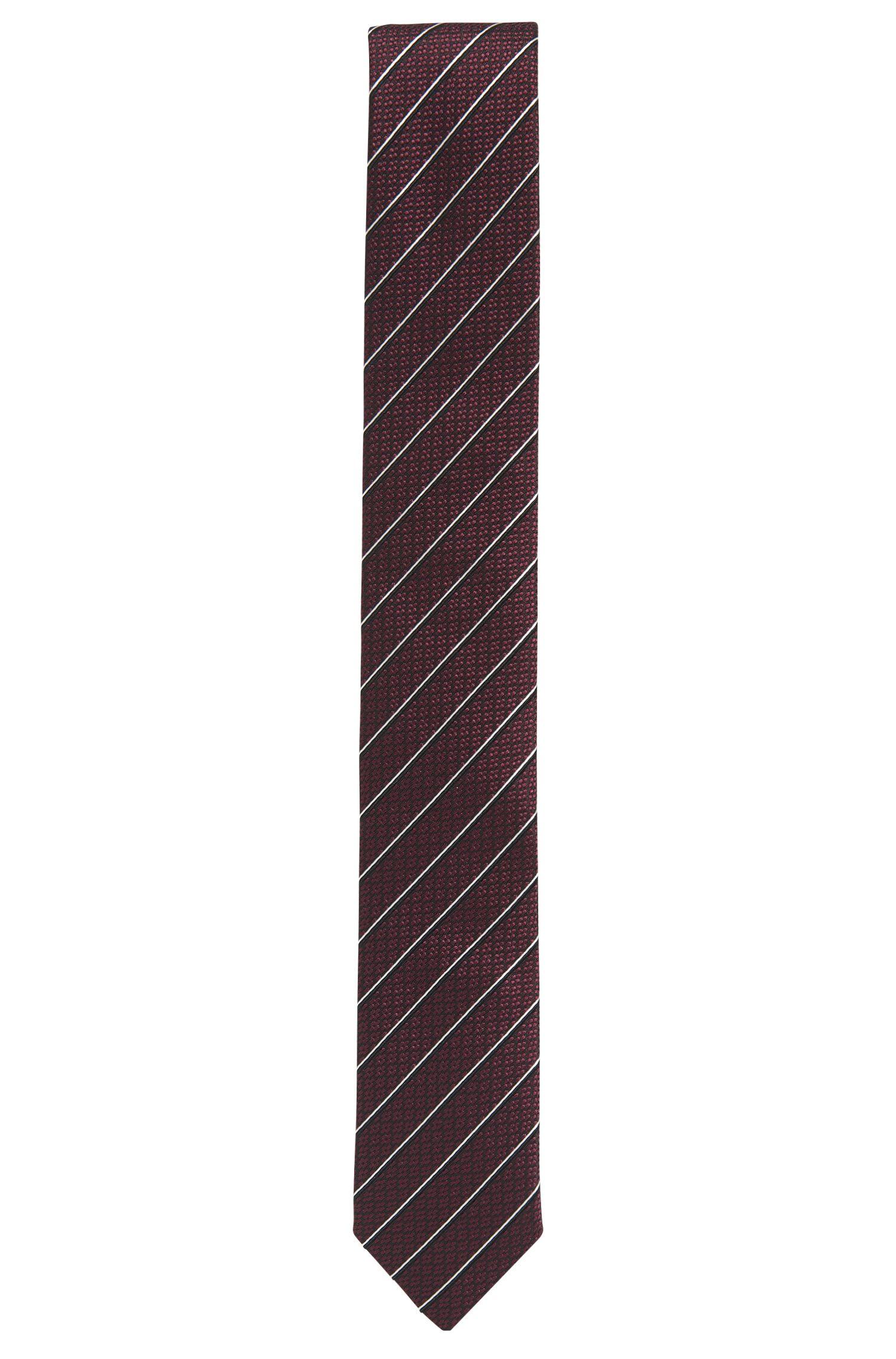 Corbata de jacquard en seda con rayas diagonales