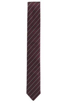 Corbata de jacquard en seda con rayas diagonales, Rojo oscuro