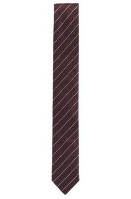 Krawatte aus Seiden-Jacquard mit diagonalen Streifen, Dunkelrot
