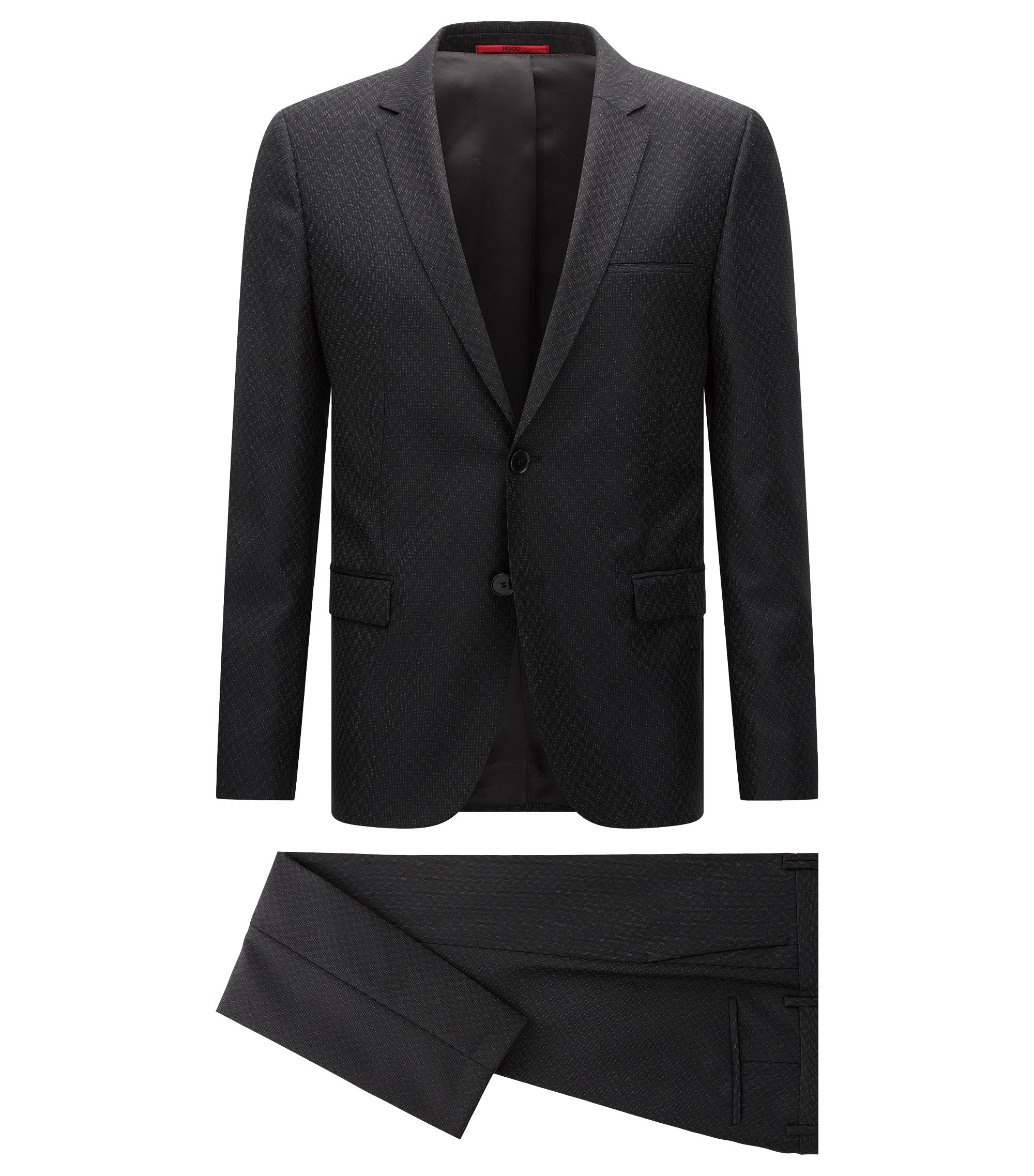 Extra-slim-fit suit in wool and silk, Black