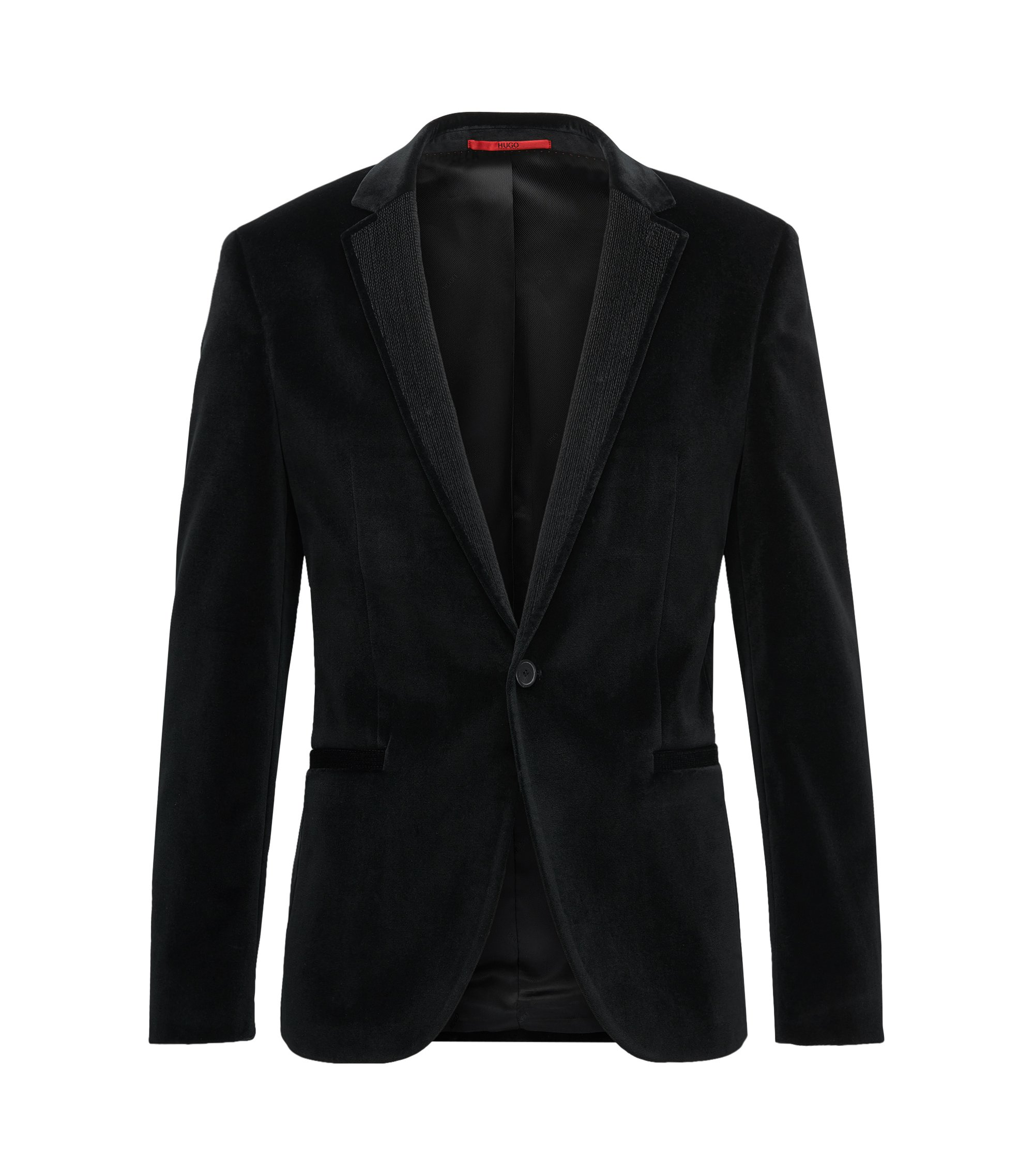 Extra-slim-fit jacket in soft velvet, Black